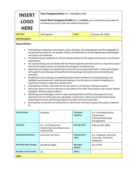 job descriptions sles templates