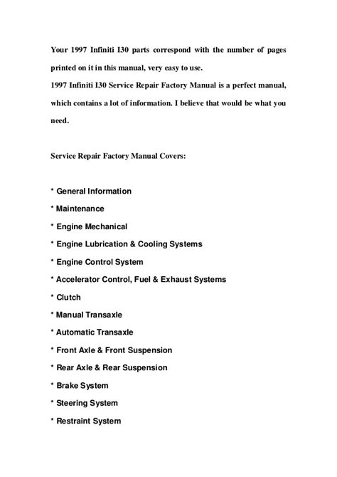 service manual 1997 infiniti i free service manual download free 2000 infiniti i online 1997 infiniti i30 service repair factory manual instant download