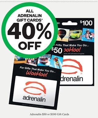 Woolworths Gift Cards 10 Off - expired 40 off all adrenalin gift cards at woolworths gift cards on sale