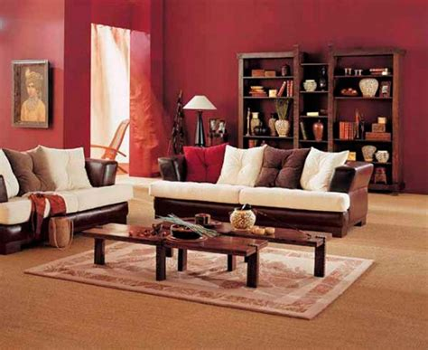 living room ideas with brown furniture simple living room design with brown white sofa wooden coffee table red wall paint and wooden