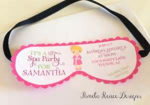 eye mask invitation template printable spa mask invitation with your choice of