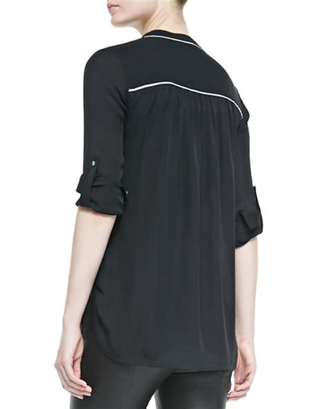 Blouse With Contrast Piping Korz vince silk contrast piping blouse black white