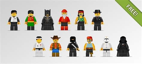 Lego Graphic 12 12 lego characters in pixel style free vector in