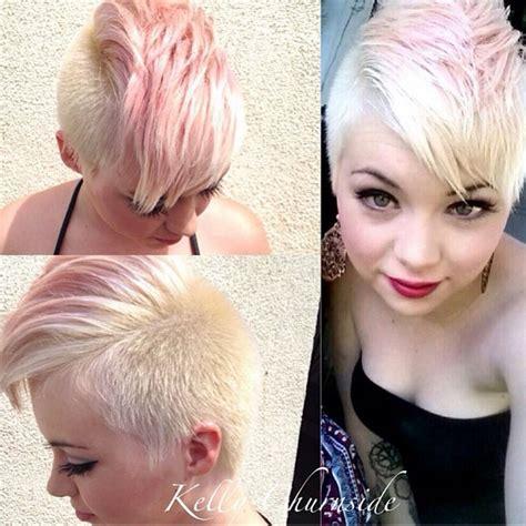 pink platinum blond streaks on short hair hair tagged as mohawk