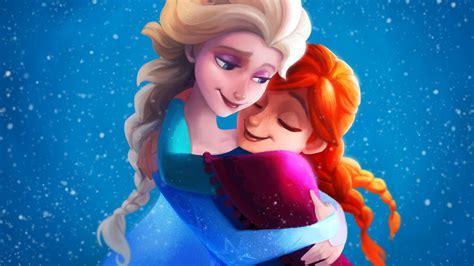 Wallpaper Elsa, Anna, Sisters, Hug, Frozen, 4K, Movies, #2349