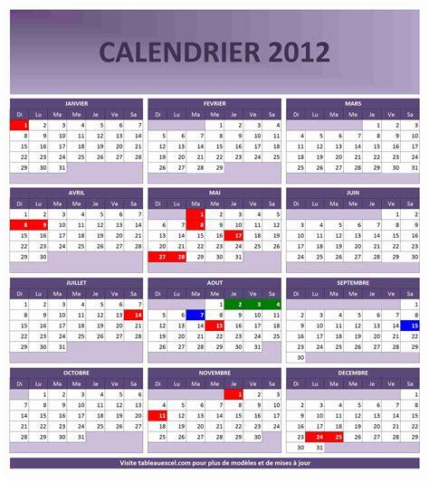 Calendrier Gratuit 2012 Calendrier 2012 Gratuit Tableau Excel