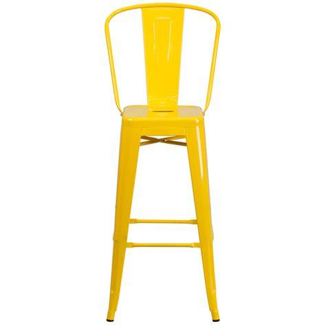 Metal Indoor Outdoor Bar Stools by Buy High Yellow Metal Indooroutdoor Barstool With Back