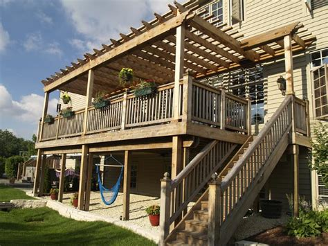 two story deck pergola arbor two story western red cedar pergolas