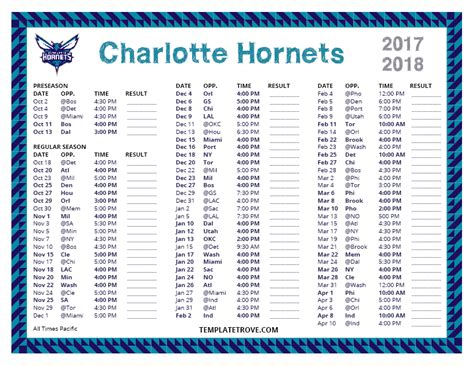 printable hornets schedule printable 2017 2018 charlotte hornets schedule