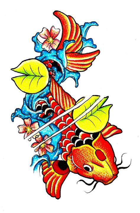 koi fish tattoo drawing color