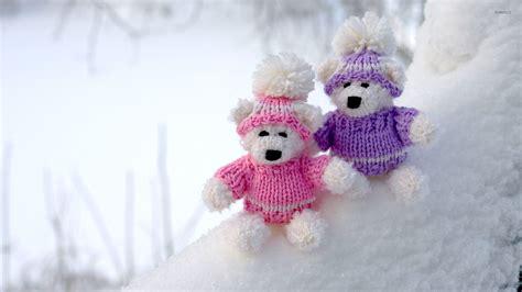 wallpaper of couple teddy bear teddy bear couple on snowy ground wallpaper photography