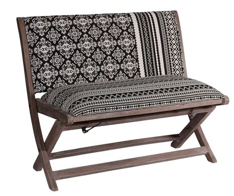 bohemian bench boho chic bench black and white rustic upholstered