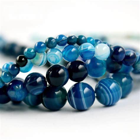 blue bead free shipping high quantity aaa blue stripe onyx agate