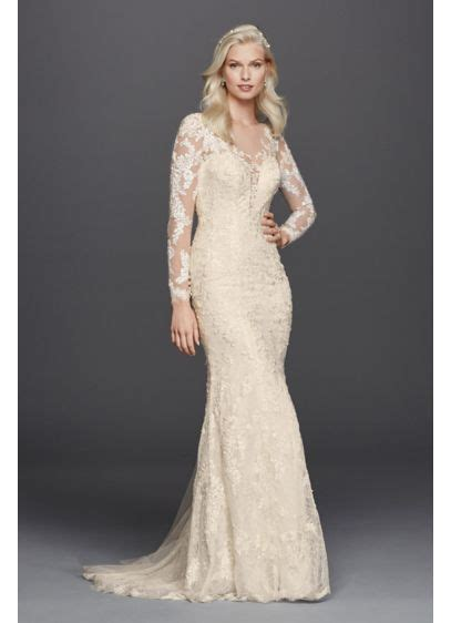 Lace Long Sleeve Illusion Neckline  Ee  Wedding Ee   Dress Davids