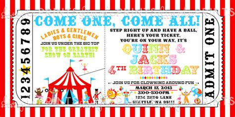 carnival ticket template circus ticket birthday invite dimple prints shop
