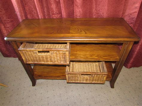 Lot Detail Lovely Matching Sofa Table With Basket Storage Sofa Table With Storage Baskets