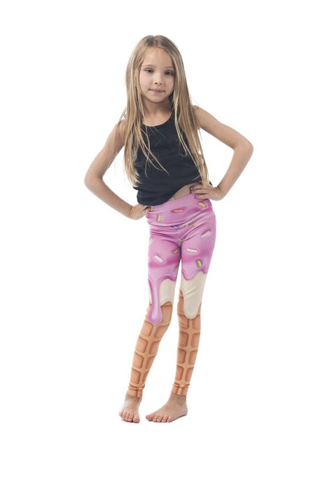 patterned childrens tights i scream kids legging printed pink ice cream cone pattern