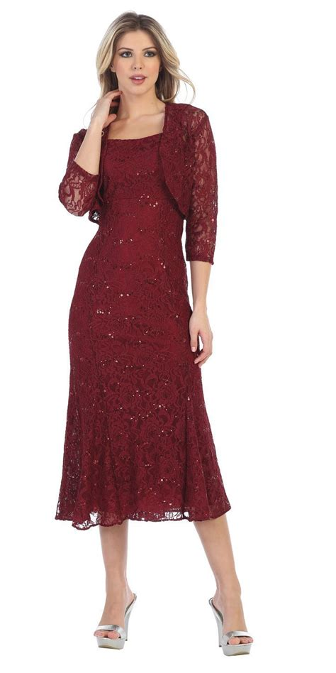 Rosita Silver Maroon 8 sally fashion 8863 silver tea length semi formal dress with lace bolero jacket discountdressshop
