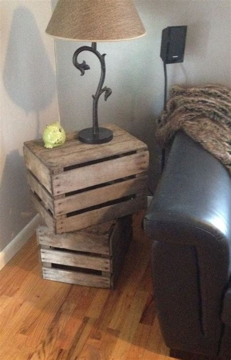 wooden crate end table stacked crate side table or end table by oldmothercupboard