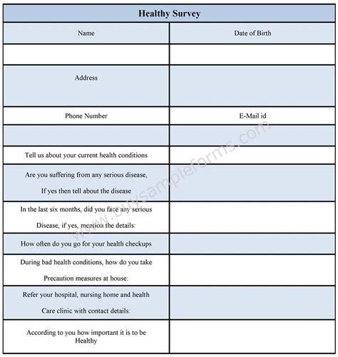 Health Survey Template