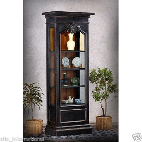 Distressed Curio Cabinet by Maison Curio Display Cabinet Bookcase Black
