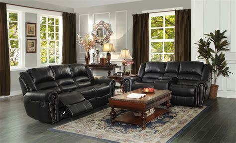 homelegance center hill reclining sofa set black bonded
