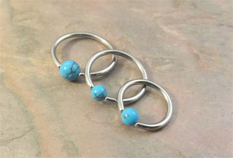 16 turquoise cbr cartilage hoop earring tragus