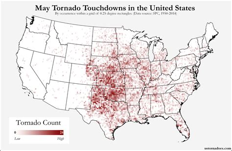 tornado usa map here s where tornadoes typically form in may across the