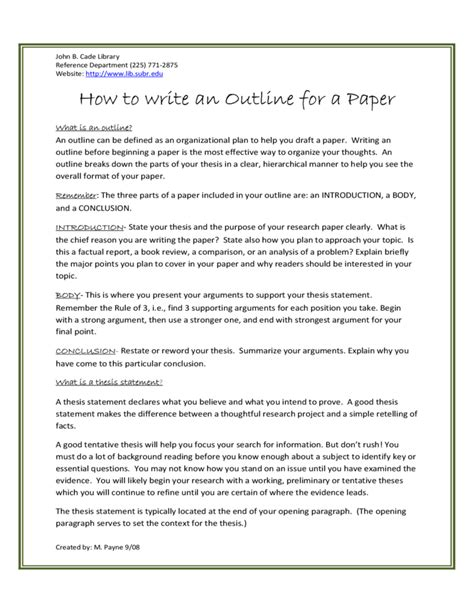 senior paper outline research paper student sample outline i ii