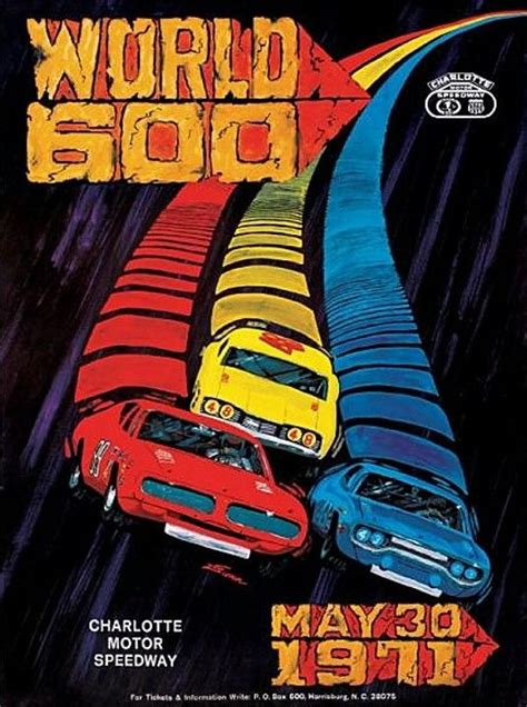 Poster Retro Otomotif 1971 world 600 program cars posts and jim o rourke