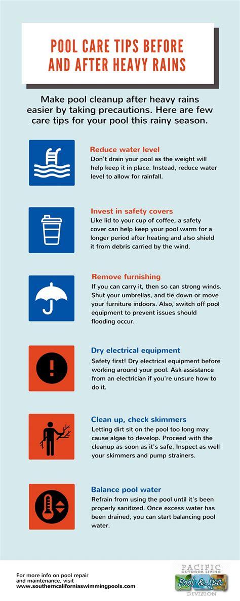 pool maintenance tips pool maintenance for rainy season infographic southern