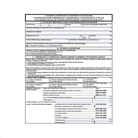 emergency response contingency plan template templates