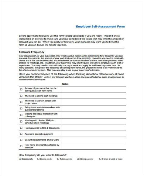 Employee Self Assessment Sles by Self Assessment Form Sles 8 Free Documents In Word Pdf
