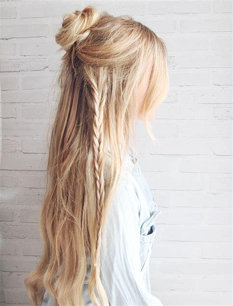 boho hairstyles for hair half up boho braided bun hair tutorial kassinka