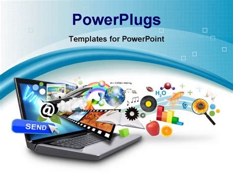 powerpoint it templates an isolated laptop has many objects projecting out of the
