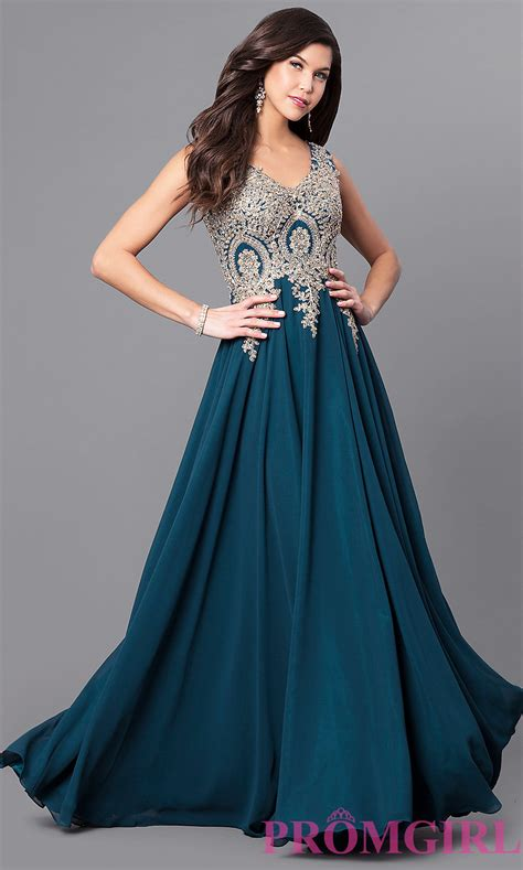 lace applique chiffon prom dress promgirl