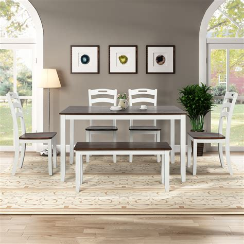 dining room table set  bench urhomepro  piece wood