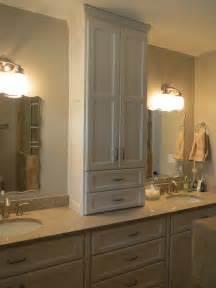 Custom master bath tower cabinet borders woodworks