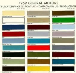 1969 chevelle gm paint color chart