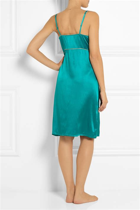 Satin Silk 10 lyst macpherson casablanca lace trimmed stretch silk satin chemise in blue