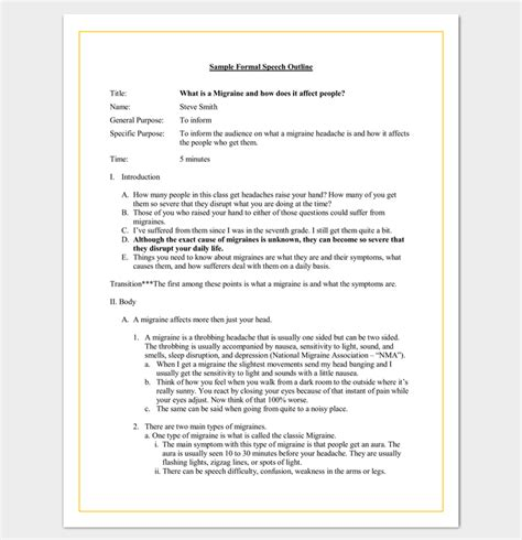 speech outline template word speech outline template 38 sles exles and formats