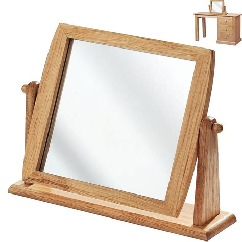 desk mirror with stand wooden dressing mirror bathroom shaving makeup wood