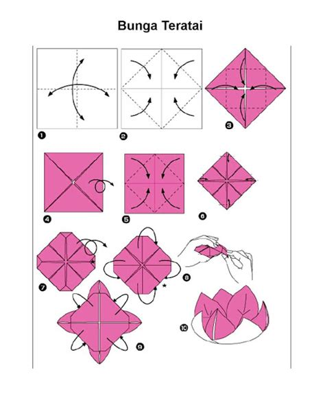 cara membuat bunga dari kertas lipat sederhana langkah langkah membuat origami bunga teratai fachri s blog