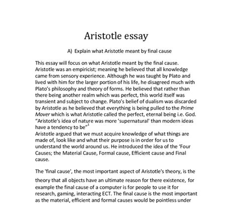 aristotle biography essay explain aristotles concept of the prime mover essay