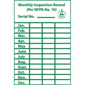 Signs Fire Safety Monthly Inspection Record Label B67484 Globalindustrial Com Monthly Extinguisher Inspection Form Template
