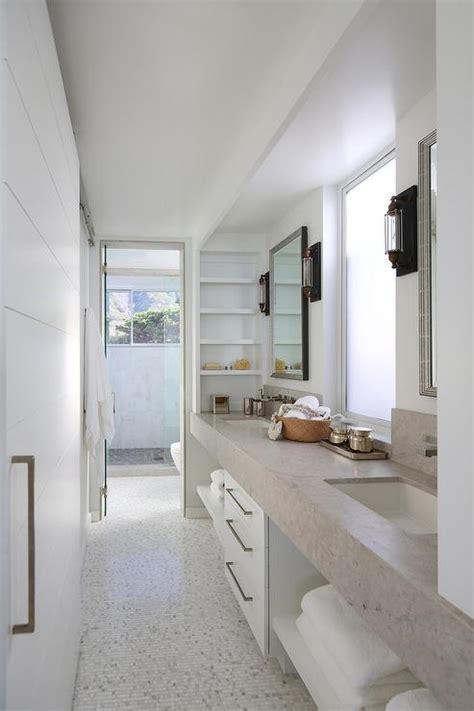 galley bathroom  double vanity sink cottage bathroom