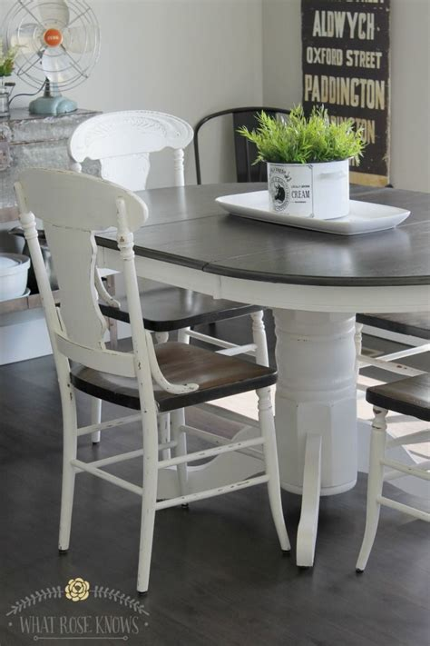 farmhouse style painted kitchen table and chairs makeover