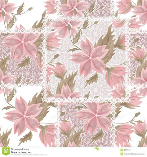 vintage style floral background with pink blooms royalty patchwork seamless white lace retro pink flowers pattern