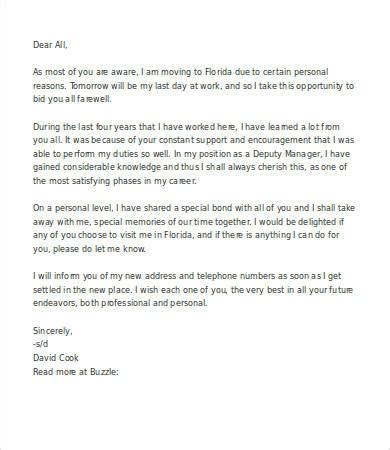 thank you letter to on last working day goodbye letter work best template collection
