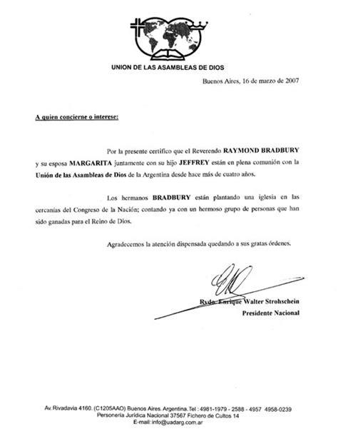 Reference Letter Translation Reference Letter Union De Las Assembleas De Dios Argentina